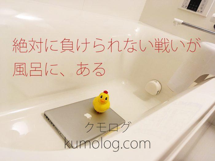 風呂の浴槽とおもちゃとパソコン